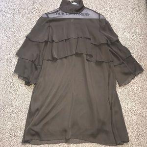 Zara Ruffle Military Green Tiered Dress